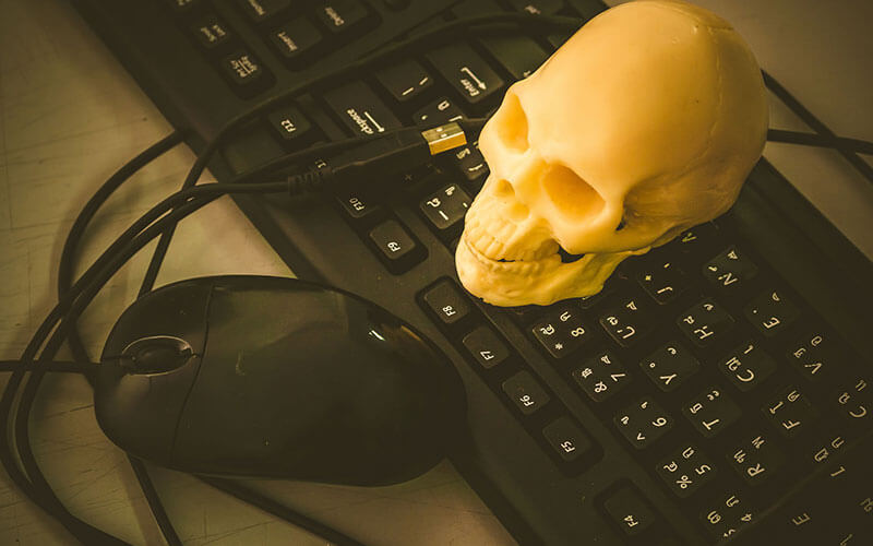Dead Computer - Skull On Keyboard and Mouse