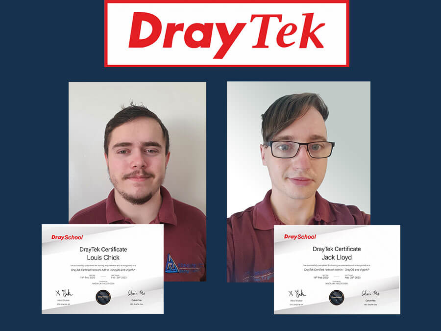 Two New DrayTek Certified Network Admins at Absolutely PC